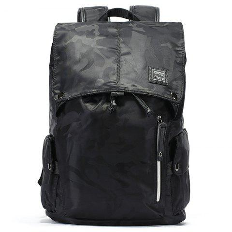 Camouflage Casual Fashion Trend Backpack - BLACK