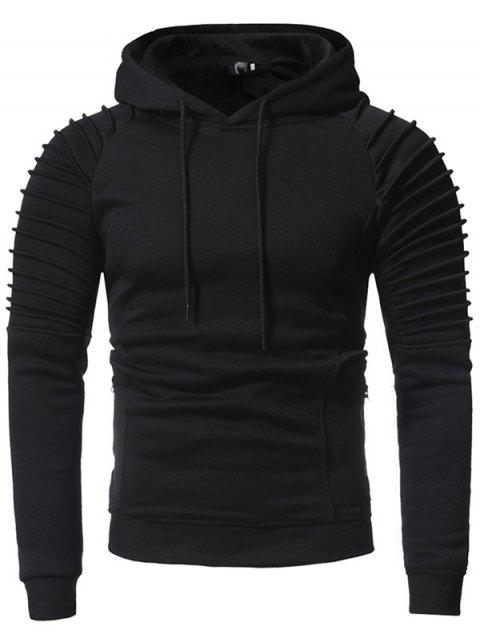 Men Stylish Fold Pullover Hoody - BLACK 2XL