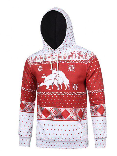 Men's Creative Personality Deer 3D Christmas Carnival Hoodie - VALENTINE RED XL