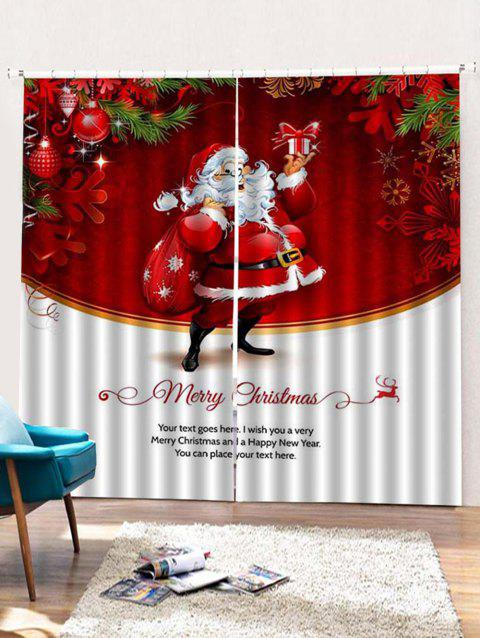 47% OFF] 2018 2PCS Father Christmas Gift Pattern Window Curtains In ...