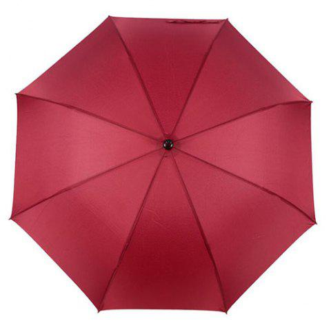 Large Long Handle Straight Rod Automatic Business Fiber Umbrella - RED WINE