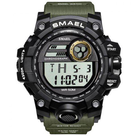 SMAEL 1545 Outdoor Sports Waterproof And Shockproof Single Display Men Sports Watch With Box - ARMY GREEN
