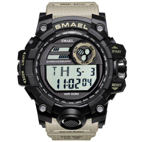 SMAEL 1545 Outdoor Sports Waterproof And Shockproof Single Display Men Sports Watch With Box - KHAKI