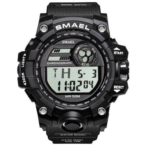 SMAEL 1545 Outdoor Sports Waterproof And Shockproof Single Display Men Sports Watch With Box - BLACK