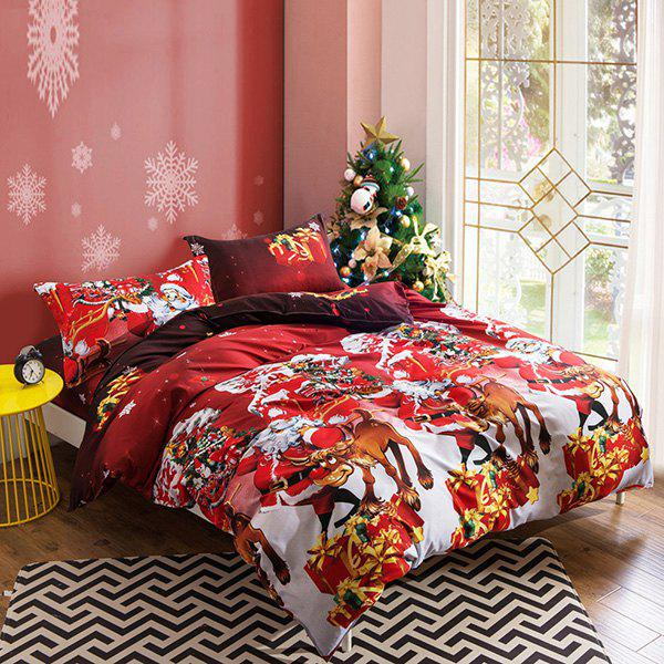 Christmas Joy Santa Happy Gifts 3D Bed Home Furnishing Bedding 3pcs, Red