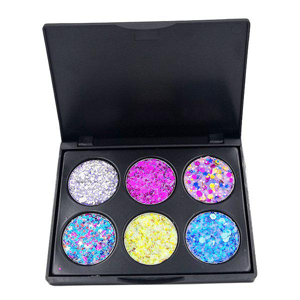 POPFEEL EK06  EK07 6-Color Glitter Sequins Eye Sticker Makeup Powders - multicolor A