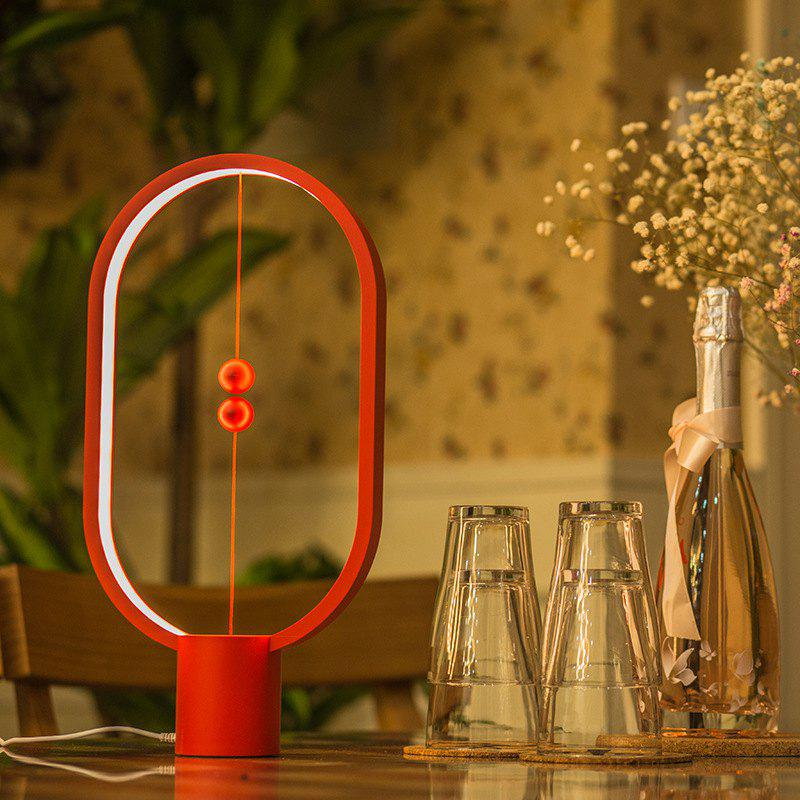 ABS Smart Balance Magnetic Table Lamp Bedroom Bedside Night Light - RED