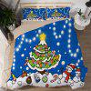 Christmas Happy Santa Gift Quilted Pillow Case Sheets 3D Home Textiles Bedding 4PCS - BLUE UK SUPERKING