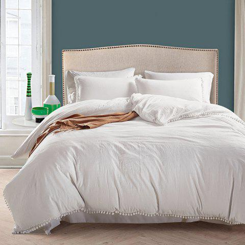 European American Solid Color Washed Ball Beddings 3pcs - WHITE KING
