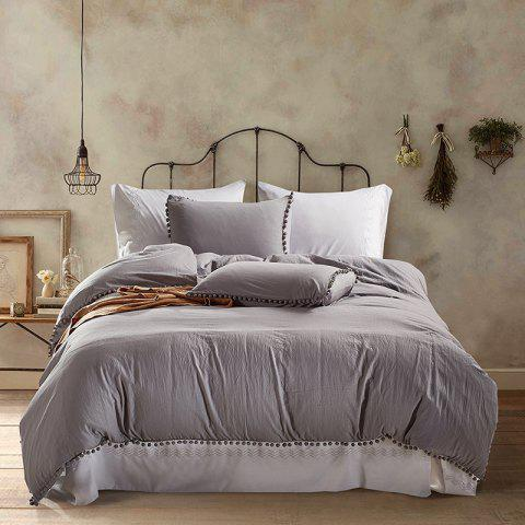 European American Solid Color Washed Ball Beddings 3pcs - LIGHT GRAY KING