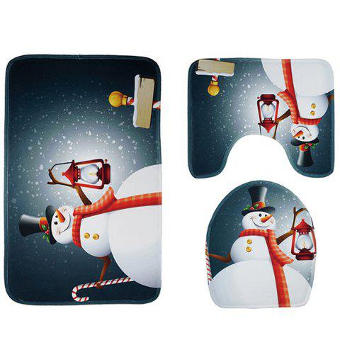 Christmas Toilet Mat Three-piece Carpet Set Non-slip Bathroom Absorbent Pad - multicolor A