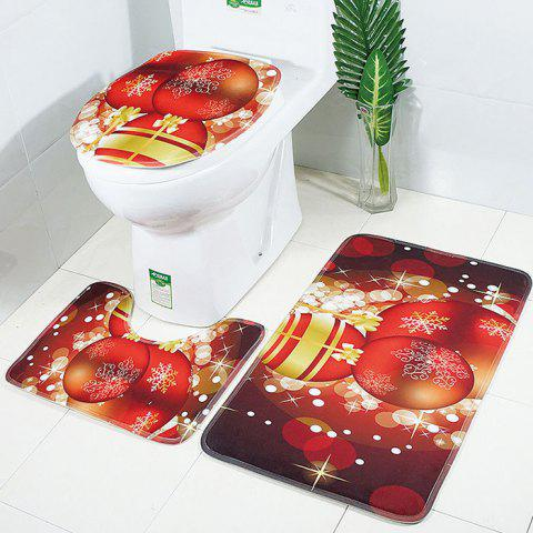 Christmas Non-slip Bathroom Absorbent Toilet Mat Carpet 3pcs - multicolor A