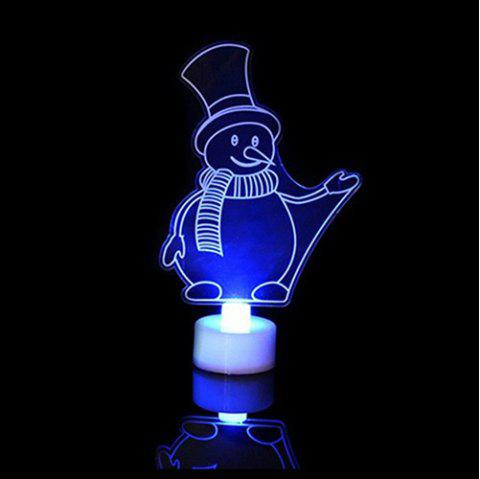 Creative Christmas LED Night Light Colorful Flash Acrylic Lamp - WHITE SNOWMAN