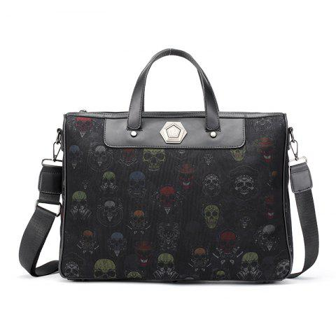 Men's Briefcase Personality Ghost Head Pattern - BLACK