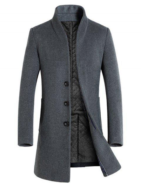 Winter Men's Long Slim Wool Coat Windbreaker Jacket - CARBON GRAY M