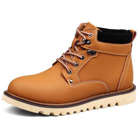 Men Leisure High-top Boots Classic Wearable Lace-up - GOLDEN BROWN EU 43