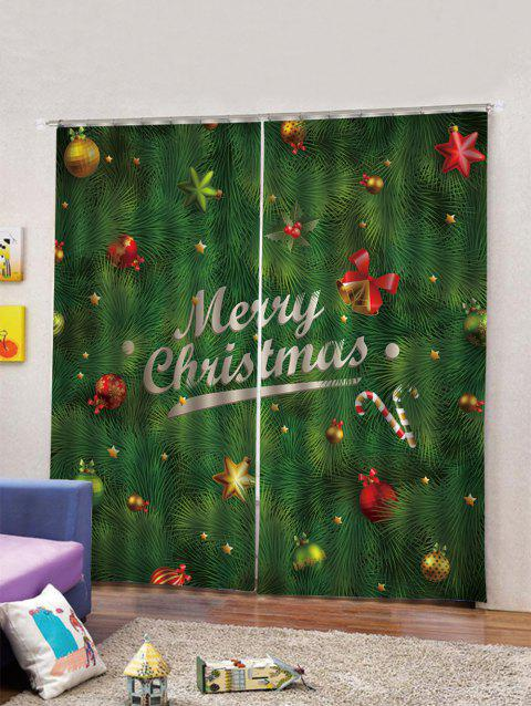 2PCS Merry Christmas Bell Candy Cane Window Curtains - MEDIUM FOREST GREEN W33.5 X L79 INCH X 2PCS