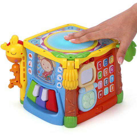 Six-sided Box Hand Drum Children Music Puzzle Baby Pat Toy - multicolor