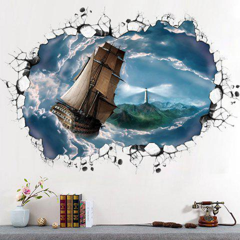 515 3D Cloud Sea Navigation Three Generations Removable Bedroom Living Room Decoration Waterproof Wall Stickers - BLUE IVY 60X90CM