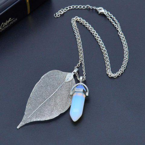 Natural Leaf Necklace Hexagonal Crystal Pendant - SILVER