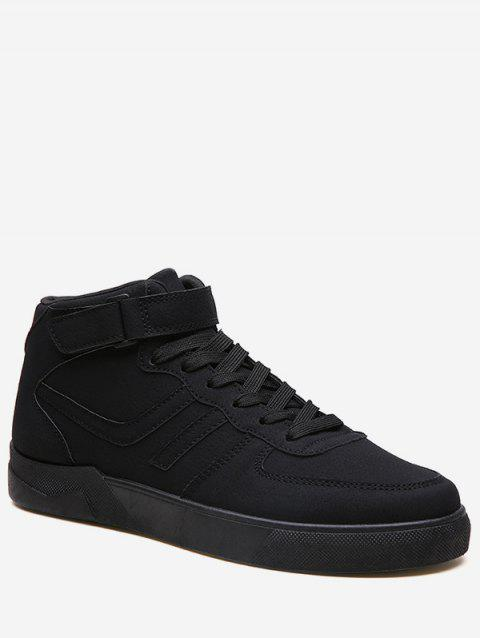 Hook Loop High Top Skate Sneakers - BLACK EU 43