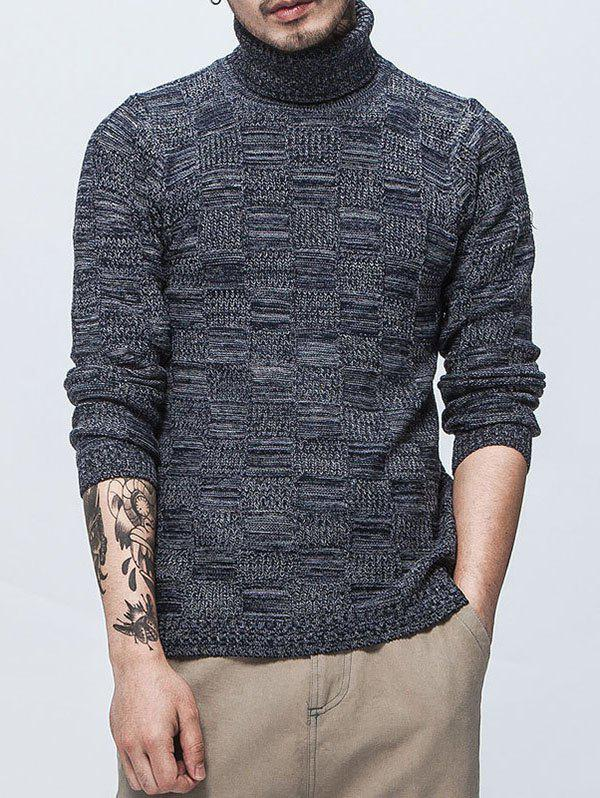 Autumn Winter Men's Fashion Design High Collar  Sweater - DEEP BLUE L