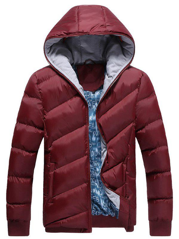 Men Winter Warm Parka Comfortable Slim Hooded - RED WINE L