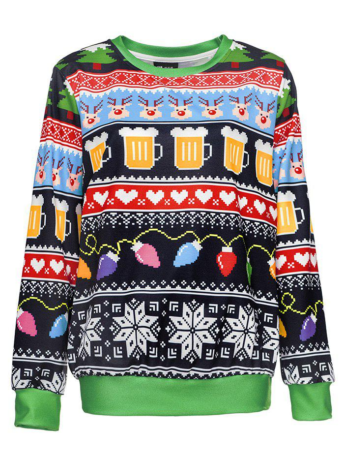 3D Digital Printing Women's Round Neck Loose Long-sleeved Sweater - multicolor A L