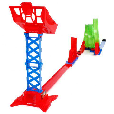 Inertia High Speed Pull Back Car Children's Multi-layer Track Assembly Toy Set - RED
