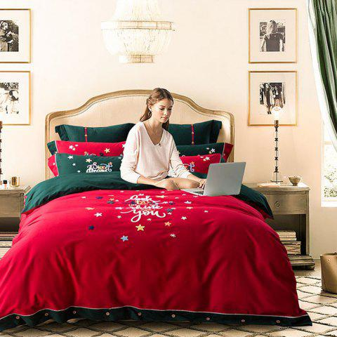 Contrast Color Christmas Wind Embroidery Autumn Winter Warm Cotton Sanding Bedding Set 160x210 - RED