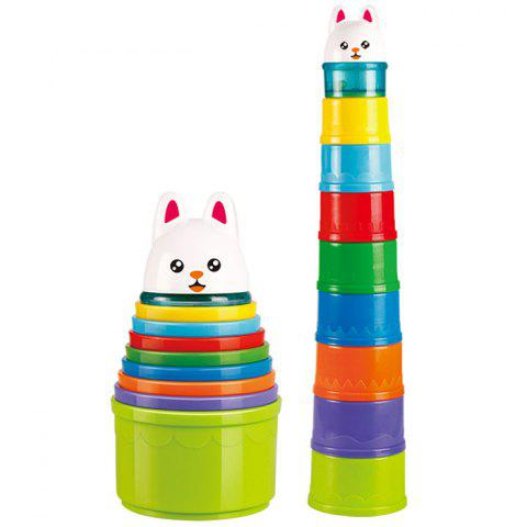 Children's Animal Bunny Stacked Beach Cup Hourglass Puzzle Learning Toys - multicolor