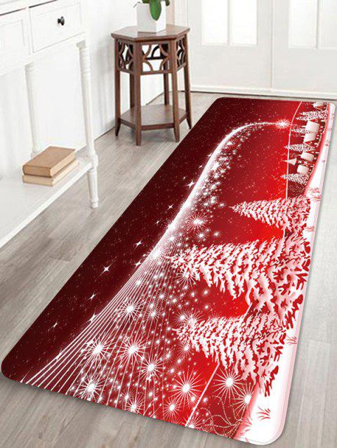 Christmas Snow Star Printed Non-slip Area Rug - RED W24 X L71 INCH