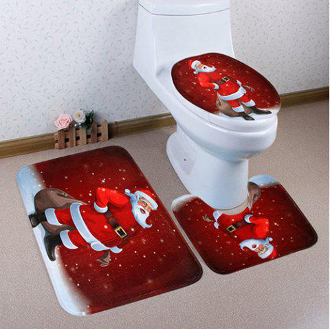 Christmas Floor Mat Three-piece Set Toilet Seat Pad Bathroom Anti-slip Carpet - multicolor D