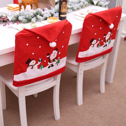 Christmas Non-woven Chair Cover Old Man Snowman Stool Set - RED