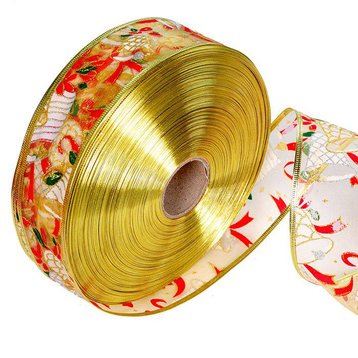 Christmas Tree Decoration Supplies 200cm Bells Pattern Colorful Ribbon - RED