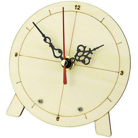 DIY Clock Puzzle Wooden Model Science Education Children's Toys - BEIGE