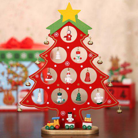 Single Piece Wooden DIY Mini Christmas Decorations - RED