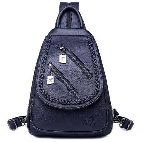 Versatile Fashion Casual Outdoor Waterproof Soft Leather Backpack -  MIDNIGHT BLUE 8d33054b0fbf1