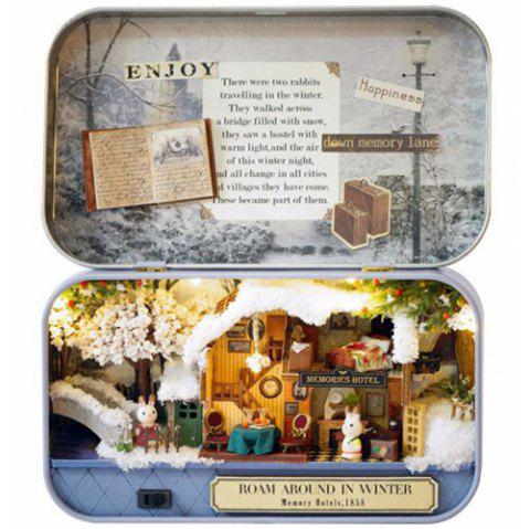 Creative Old Times Trilogy DIY Handmade Cabin Boutique Doll House Box Set - multicolor A ROAM AROUND IN WINTER