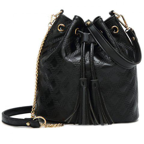 Women's Bucket Bag Tide Fashion Tassel - BLACK