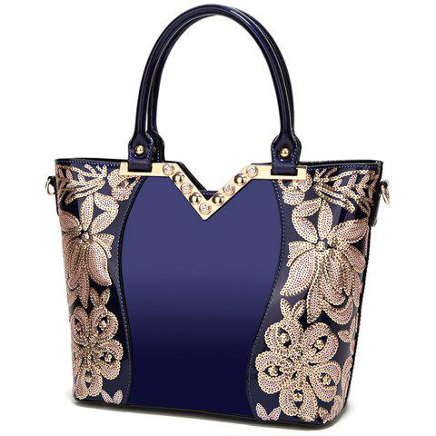 Women's Fashion Slung Leather Sequin Embroidery Handbags - DENIM DARK BLUE