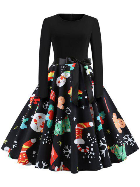 Christmas Print Stitching Long Sleeves and Large Dresses - multicolor C S