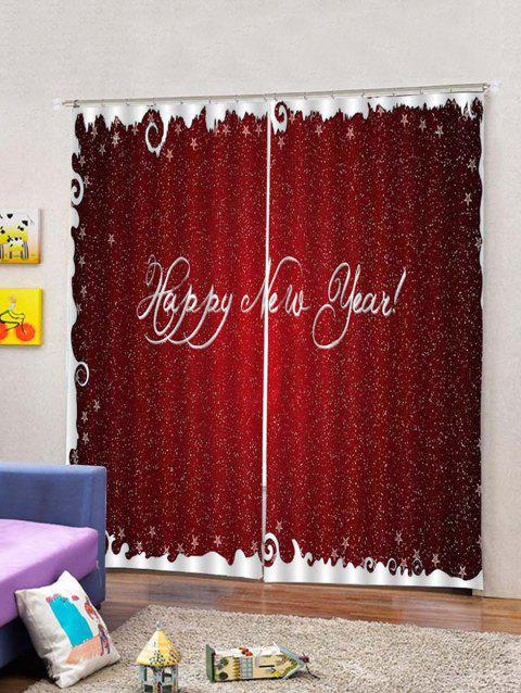 2pcs Hy New Year Letter Window Curtains Multicolor W33 5 X L79 Inch