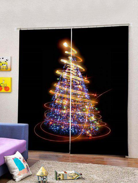 2Pcs Sparkling Christmas Tree Light Window Curtains - multicolor W30 X L65 INCH X 2PCS