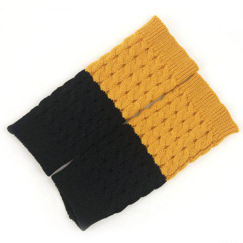 Women's Winter Fashion Accessories Two-color Knit Warm Mid-length Wool Socks - multicolor A YELLOW+BLACK