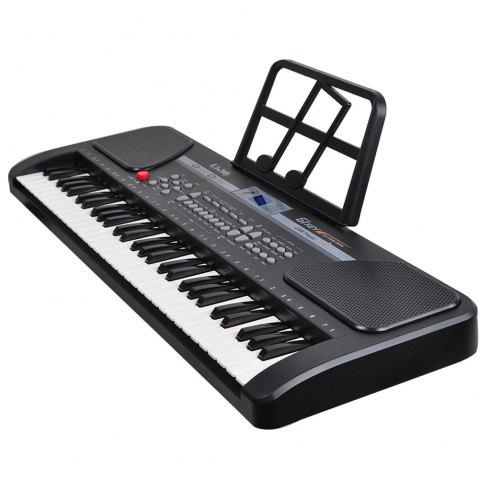 328 - 11 Double Power Supply 61 Key Children Electronic Piano Puzzle Musical Toy - BLACK EU PLUG