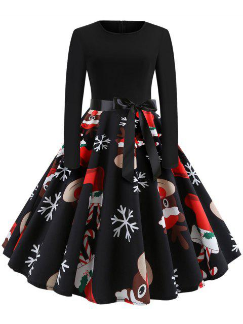 Christmas Print Stitching Long Sleeves and Large Dresses - multicolor A M