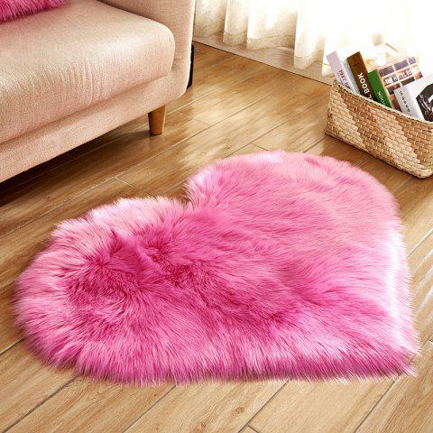 Simple Love Shape Wool-like Carpet - DEEP PINK 40 X 50 CM