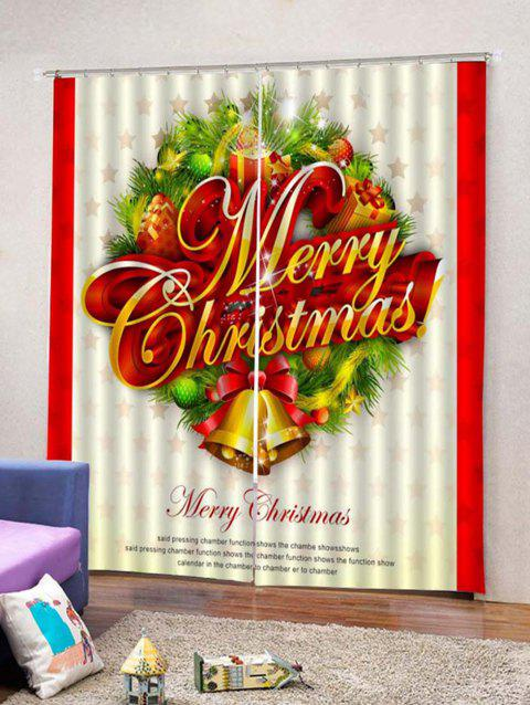 2pcs Christmas Letter And Bells Window Curtains Multicolor W33 5 X L79 Inch