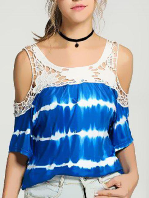 Women's T-shirt Casual Off-shoulder Striped Print Lace Stitching - BLUE M